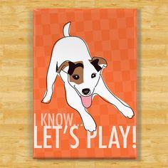 Jack Russell Terrier Magnet Modern Dog Gift - Play    Outsidepeg