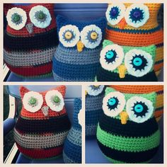 Ravelry: O.O Owl Pillows in Two Sizes pattern by Elizabeth Mareno. This pattern is available as a free Ravelry download.