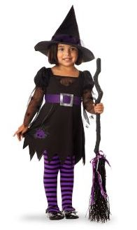The classic #Halloween witch costume gets update with sweet purple details.