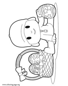 Looks like that Pocoyo is very happy with his basket of easter eggs. Come have fun with this amazing coloring sheet!
