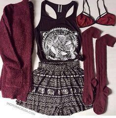 t-shirt tumblr outfit boho patterns shorts underwear burgundy cardigan blouse bag shirt socks tank top