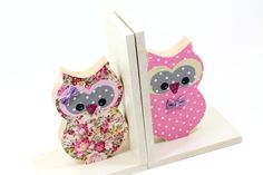 Back to school Bookends pink Owl Girl room wooden by PrettymShop