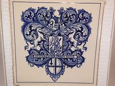 Vintage Blue Delft Holland Pharmacy Pill Tile +Box Apothecary Burroughs Wellcome