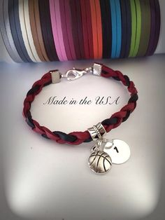 Personalized Basketball bracelet Charm bracelet by QberryCreations Basketball Jewelry, Football Jewelry, Football Bracelet, Basketball Gifts, Personalized Basketball, Basketball Wall, Sports Gifts, Friend Bracelets, Friendship Bracelets
