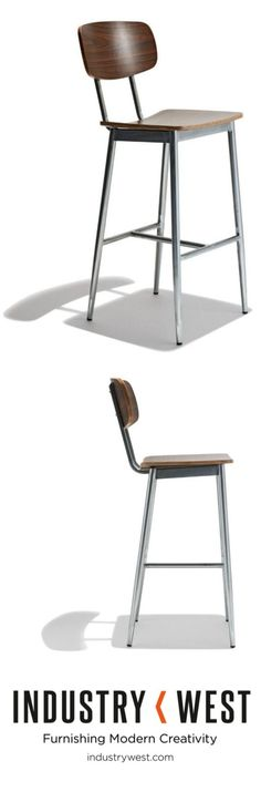 The Miller Bar Stool is simplistic and clean. Simple enough to speak for itself. Construction includes tubed galvanized steel and finely shaped walnut colored veneer seating surfaces which conform nicely to the body. Both the seat and back are scratch and scuff resistant for high traffic usage. Also available in a complimentary side chair.