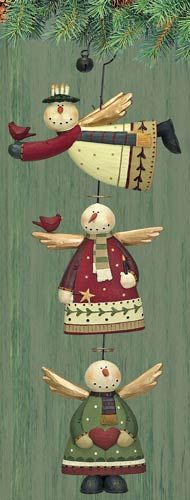Snow Angel Folk Art Ornaments Set of Three – Christmas Folk Art & Holiday Collectibles – Williraye Studio