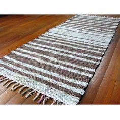 Image of Handwoven Rag Rug Runner - Light blue, brown, green & tan / Eco-Friendly, upcycled