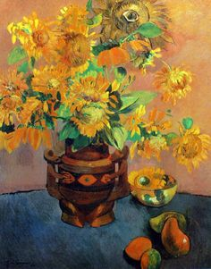 Paul Gauguin - Post Impressionism - Tahiti - Fleurs de tourneol et mangues - 1901