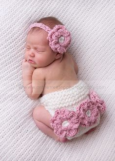 Headband and Diaper Cover SET ,Newborn Headband with Crochet Flower in Pink , Baby Headband, Ivory Diaper Cover, Photography Prop. $40.00, via Etsy.