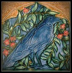 Medieval Crow Art Tile by Verdant Tile Craftsman Style Bungalow, Craftsman Tile, Indian Arts And Crafts, Crow Art, Art Nouveau Tiles, Artistic Tile, Arts And Crafts House, Art N Craft, Decorative Tile