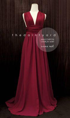 MAXI Wine Red Bridesmaid Dress Prom Dress Wedding Dress