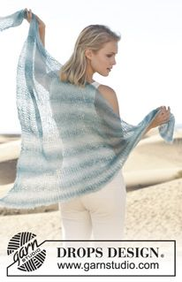 "Clear Blue Skies - Châle DROPS au point mousse, en ""Kid-Silk"". - Free pattern by DROPS Design"