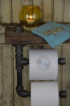Handmade Barn Board & Pipe Double Roll Toilet Paper by sugarSCOUT