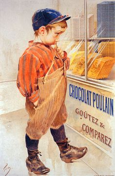 An illustration from an old children's book.....boy looking in a candy store window,selling chocolate candy.