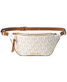 New Michael Kors Rhea Zip-Top Vanilla Extra Small Belt Bag monogram mono 5f8fba34840c2