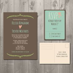 Rustic Fern Wedding Invitation and RSVP by SimplySmittenDesigns, $30.00