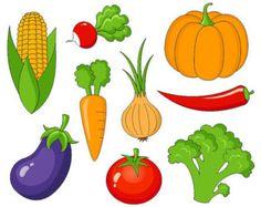 Vegetables Clip Art, Cute Veggies Digital Clipart, Corn, Pumpkin, Tomato, Onion, Eggplant, Carrot, Pepper - Instant Download - YDC002