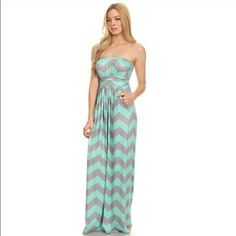 Re-stocked! Mint & Grey Chevron maxi dress Mint & Grey chevron print maxi dress with pockets! Material is 90% polyester, 10% spandex. Price is firm unless bundled. Thanks for shopping my closet!  comes in original packaging. SO SO flattering!! Small will fit size 2-6 IMO and Large will fit anywhere from 12-16 IMO (very stretchy!) Fashionomics Dresses Maxi