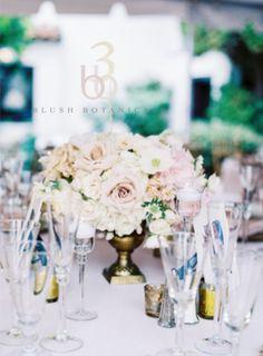 Blush Botanicals.  blush and ivory centerpiece within a gold urn vase.  blush centerpiece.