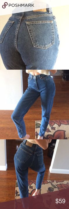 "🍑✨vintage GAP jeans Be a 90s babe in these gorgeous high waisted  vintage peg leg jeans.  So flattering to the booty and waist.  Thick high quality 💯% cotton denim, excellent condition.  Would look great with hems cut and frayed or cuffed.  Marked 2 long ""reverse fit"" and fit TTS, modeled on a size 4/27 and I can squeeze into them- I'd say they fit a 26/37best but PLZ check the measurements.  12"" wide waist laying flat, 18.5"" wide hips laying flat, 11.5"" rise, 33"" inseam. Open to…"