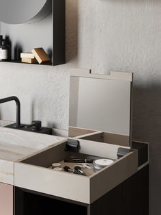 Born as an evolved monobloc, Compact Living meets the needs of small spaces by creating innovative and design solutions. Bathroom Furniture Design, Design Bathroom, Restroom Design, Lighting Concepts, Compact Living, Wall Mounted Vanity, Vanity Units, Vanity Cabinet, Wet Rooms