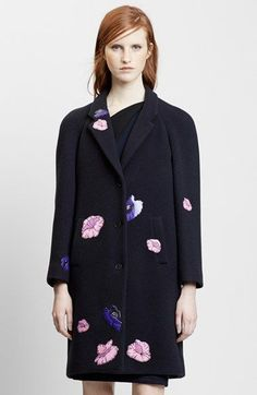 Christopher+Kane+Floral+Appliqué+Wool+&+Cashmere+Coat+available+at+#Nordstrom