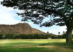"""This is a view of Diamond Head on Oahu, as seen from the adjacent park in Waikiki. You can enjoy views of the crater in one direction and watch surfers riding the waves in the opposite direction."" (From: 30 Beautiful Photos of the Hawaiian Islands)"