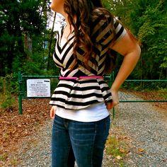 Striped Peplum + Jeans w/ neon belt - still being molly http://networkedblogs.com/FsAMo