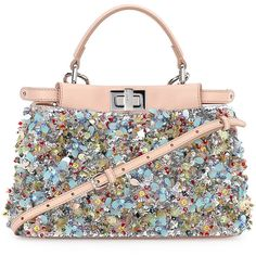 Fendi Peekaboo Mini Beaded Flower Satchel Bag (25.060 BRL) ❤ liked on Polyvore featuring bags, handbags, fendi, purses, borse, mini purses, mini handbags, white satchel handbags, hand bags and handbags purses