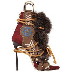 DSQUARED2 130mm Leather & Fox Fur Sandals (12.705 DKK) ❤ liked on Polyvore featuring shoes, sandals, heels, boots, dark brown, platform heel sandals, dark brown sandals, high heels stilettos, lace up high heel sandals and leather sandals