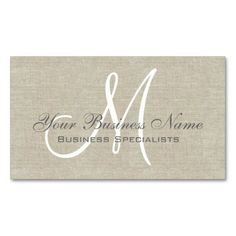 Beige Linen Grey Simple Plain Monogram Business Cards. This great business card design is available for customization. All text style, colors, sizes can be modified to fit your needs. Just click the image to learn more!