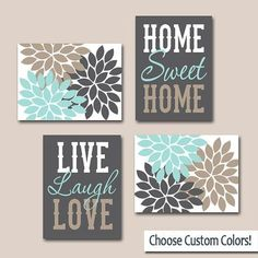Splendid ★WALL ART CANVAS or Prints Live Laugh Love Home Sweet Home Quote Home Decor Artwork Picture Flower Burst Floral Set of 4 Choose Your Colors ★Includes 4 pieces of wall art ★Available in . Diy Canvas Art, Diy Wall Art, Canvas Wall Art, Wall Decor, Canvas Ideas, Canvas Crafts, Acrylic Paintings, Painting Frames, Diy Wand