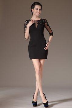Черное Стильное Кружевное Коктейльное Платье на Пати (03140900)