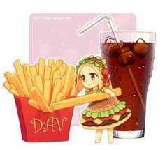 Chibburger by on DeviantArt - Kawaii Chibi Burger and Fries Girl ♥ ♥ ♥ So Adorable ♥ - Kawaii Anime, Kawaii Chibi, Kawaii Art, Manga Anime, Cute Anime Chibi, Anime Art, Cute Food Drawings, Kawaii Drawings, Art Mignon