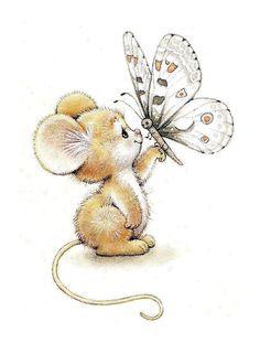 Мыша с бабочкой