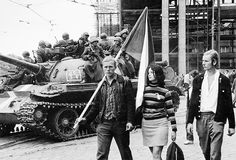 1968 photography by paul goldsmith czech republic Old Photography, Street Photography, Prague Spring, Visit Prague, Prague Czech Republic, Tank I, East Germany, Women In History, Eastern Europe