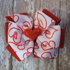 VALENTINE'S DAY hair bow  4 inch clip heart by CicisBowBoutique