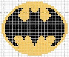 Batman Symbol Pattern (In Progress) by cadetenglish on DeviantArt Pony Bead Patterns, Loom Patterns, Crochet Blanket Patterns, Crochet Motif, Quilt Patterns, Knitting Patterns, Cross Stitching, Cross Stitch Embroidery, Cross Stitch Patterns