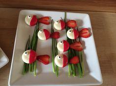Babybelfische mit Erdbeerschwänze für unsere Meeresparty zum 6. Geburtstag von Zoe