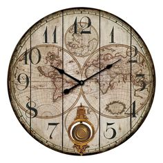 Classic Global Wall Clock, MDF/Paper, Pendulum