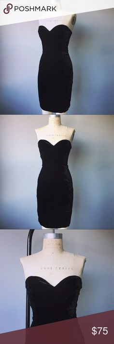 VTG AJ Bari Black Velvet Strapless Cocktail Dress In sumptuous black velvet dress from VTG designer AJ Bari. Is perfect for the holidays & New Year's Eve parties. It prims of 80's rock-style glamour, absolutely timeless in sex appeal and seduction. It has the label of ILGWU, Union Made. It stands for Int Ladies Garment Workers Union. Tailored to perfection, molds your body into the hourglass silhouette. Mint condition.   Measurements are taken laying flat and are approximate. [Armpit to…