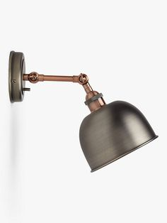 Buy Pewter/Copper John Lewis & Partners Baldwin Wall Light from our Wall Lighting range at John Lewis & Partners. Shell Station, John Lewis Shops, Bedside Lighting, Antique Pewter, Cleaning Wipes, Wall Lights, Bulb, Led, Antiques