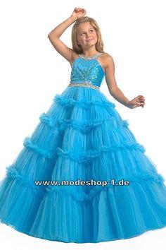 Bodenlanges Blaues Abendkleid Ballkleid Mädchen Kleid auch für Blumenmädchen  www.modeshop-1.de