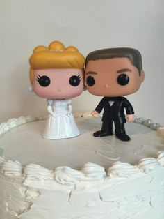 Cinderella and Groom Funko Pop Wedding Cake Topper Set Disney's Cinderella