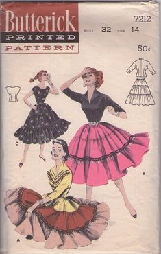 "1955 - ""SQUAW"" SEPARATES DRESS: TIERED SKIRT Gay as a patio fiesta; a triple tiered skirt you team with a trio of peppy blouses. (A) Below-elbow sleeved blouse to match top skirt tier. (B) Contrast blouse. (C) Scoop necked, shoulder capping blouse skirt to match."