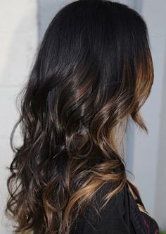 Dark brown hair with caramel highlights/ombré