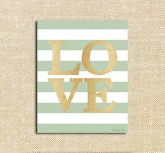 Gold Love Digital with stripes Printable Print for Wall Decor DIY Decoration or Gift