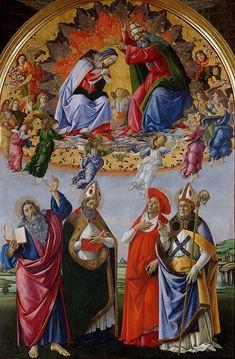 Коронование Девы Марии. Сандро Боттичелли Галерея Уффици, Флоренция (Galleria degli Uffizi, Firenze). 1490-92. 378х258