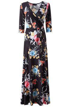 Kranda Women s Paris Bohemian 3 4 Sleeve Faux Wrap Maxi Dress (Small, Black 50bcdb66d81