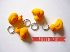 Stitch markers yellow ducks set of 4 by AbsoKnittingLutely on Etsy, £8.00